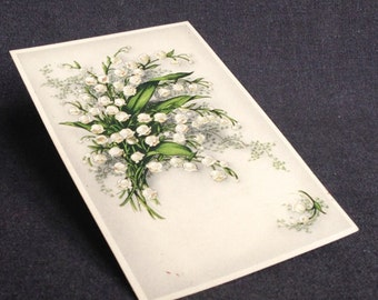 These lilies will bring you happiness. Vintage French May Day romantic postcard. Mothers day gift idea.