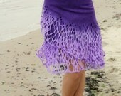 Felted purple Levander skirt lace Felt light luxury original all season open work Regina Doseth handmade in Lithuania EU