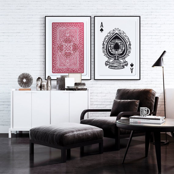 set of 2 big posters playing cards posters 20x30 50x70cm. Black Bedroom Furniture Sets. Home Design Ideas