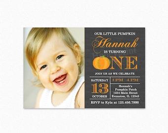 Pumpkin Birthday Party Invitation, Orange White Polka, Printable Birthday Party Invitation