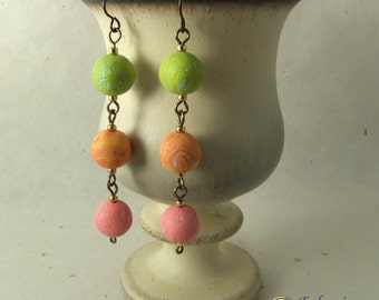 Green orange and pink long dangle earrings, handmade polymer clay beads on hypo-allergenic niobium ear wires