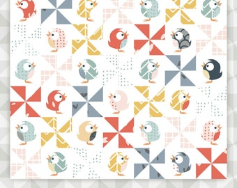 Instant Download: For the Birds- an appliqué and pinwheel quilt pattern. Appliqué tutorial. Easy pinwheel quilt.