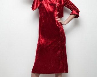 red velvet dress bolero jacket vintage 2-piece sequin trim bell sleeves S SMALL (SU-1)