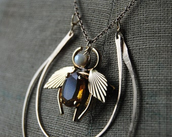 Citrine Bee--Vintage Art Deco Citrine Gold Filled Bee Brooch Gold Filled Hoop Chain NECKLACE