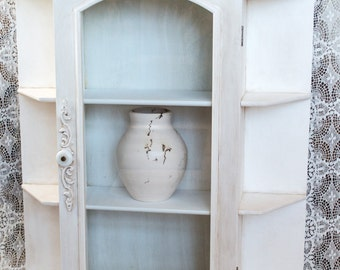 HOLIDAY SALE  Chic Large Curio Cabinet Aged White French Farmhouse Display Case