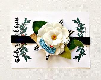 Felt Flower Headband Crown Hair Halo, Hair Flowers, Alice in Wonderland Daisy, giddyupandgrow