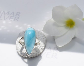 Larimarandsilver ring size 7.25, Turquoise Sky - topaz blue Larimar pear, Swiss blue, clear sky, turquoise blue ring, handmade larimar ring