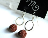 Red Wood Rudraksha Seed with Hammered Sterling Silver Hoop Earrings by LM-inspired