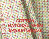 Natural Yarn Red Blue, Basketweave Suiting, Wide Fashion Fabric, Medium Weight Cotton, half yard, B28