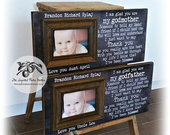 Baptism Gifts For Godparents,  Will You Be My Godparents, Godfather Gift, Godmother Gift, Godparents Gift, 8x20 The Sugared Plums