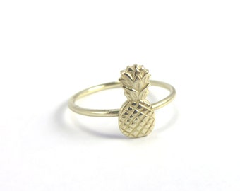 Pineapple Ring, Tiny Pineapple Ring, Gold Stacking ring, Midi Ring, tiny pineapple, boho rings, hawaii rings, aloha ring, tropical ring
