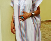 Resort Caftan Kaftan - White-for Ramadan, Eid wear, abayas, as beachwear, beach cover ups,resortwear, Kaftan, maternity, birthday gifts