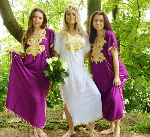 Set of 5 Bridesmaid robes,Bridesmaid gifts, Purple Gold Marrakech One Size Moroccan Kaftan-Beach wedding, bridal shower party, baby shower
