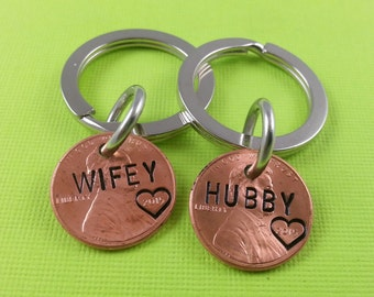 2 Personalized Keychain - Couples Hand Stamped Penny - Hand Stamped -  - Gifts for Couples - Husband Gift - Wife Gift - Lucky to have you