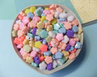50x 10mm Flower Shaped Star Beads in Pastel Multicolours