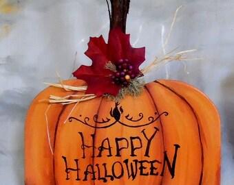 "Happy Halloween, medium, cut mdf board, pumpkin shape, 8""X 11"""