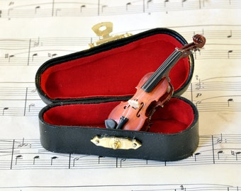 Violin Brooch Pin in Case, Music Brooch, Violin Jewellery