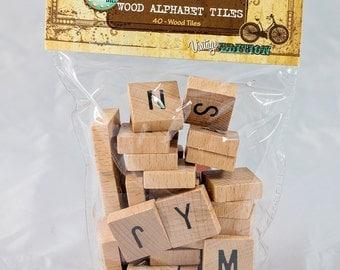 Wooden Alphabet Tiles - Uppercase - 40 Tiles