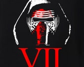 STAR WARS VII Mens or Unisex Shirt. Kylo Ren from The Force Awakens! Perfect for Opening Night! Star Wars Shirt. Star Wars vii shirt