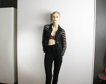 sheer stripes black mesh top blouse vintage 1980s