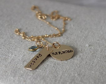 name and date birthstone necklace | 14k gold filled mothers necklace | stamped birth date jewelry | push present | new mom | custom necklace