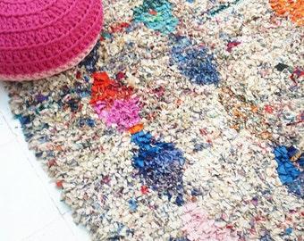 "Vintage Moroccan Rag Rug - BOUCHEROUITE ""candies"""