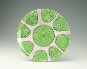 """In Stock - To Hang or Not to Hang - Lime Black White Ready to Hang 11-3/4"""" Serving Platter Spiral and Dots Hand Painted Dinnerware"""
