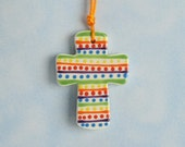 Colorful Small Cross Ornament Hand Painted Rainbow Colors