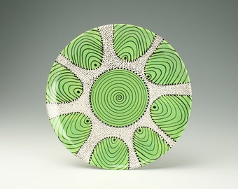 "Lime Black White 11-3/4"" Serving Platter Spiral and Dots Hand Painted Dinnerware - Ready to Hang"
