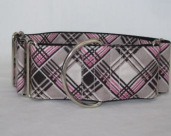 Plaid Martingale Dog Collar - 1.5 or 2 Inch - pink cream black