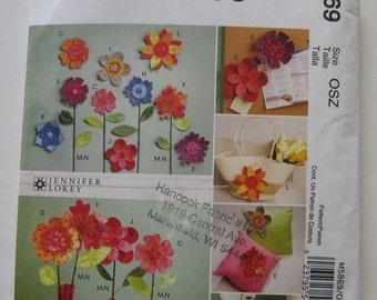 UNCUT McCalls Crafts Pattern M5869 Dimensional Flowers~Pincushion, Embellishments