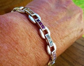 RESERVED FOR A.V. Vintage Multi Colored Stoned Sterling Silver Bracelet Double Lock Latch