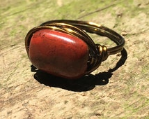 size 7 - red Rainbow Jasper gemstone antique brass gold wire wrapped Ring -handmade bohemian - unisex men women natural jewelry