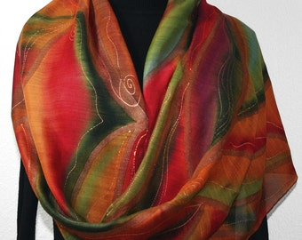 Hand Painted Silk Wool Scarf. Green, Burgundy, Red Warm Silk Wool Scarf SUNSET MOOD. Silk Scarves Colorado. Large 14x68. Birthday Gift.