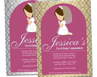 Silver or Gold Girl First Communion Party Invitation | First Communion Girl Invitations | PRINTABLE First Communion Girl Invitation #604