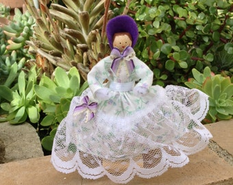 Southern bell-type clothespin doll - purple and white dress, white lace - ready to ship