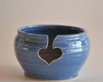 Pottery Yarn Bowl for Knitting in Deep Blue