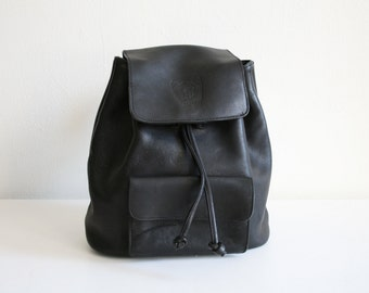 Etienne Aigner Black Drawstring Backpack