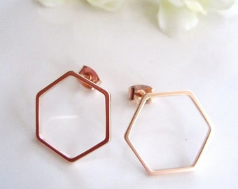 Geometric Rose Gold Earrings, Octangle, Small, Everyday earrings, Modern, Post style Earrings, Minimilist Jewelry, Redpeonycreations