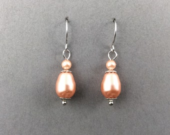 Coral Earrings In Silver With Peach Teardrop Swarovski Crystal With Silver Spacer Beads