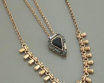 Double Layered Necklace - Layered Necklace - Tassel Necklace - Triangle Necklace - Black Rhinestone Necklace - Boho Necklace - handmade