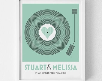 Personalised Art Print / 'Vinyl Record' Print Only for Couple or Family / Wedding Sign, Home and Wall Decor, Anniversary Gift / MEDIUM SIZE