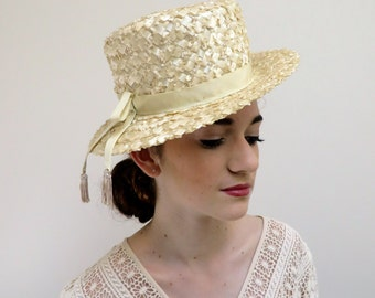 Vintage 1950's Creme Straw Hat Boater/Lazarus/50's Ecru Straw Hat Boater/Lazarus Creme Straw Hat
