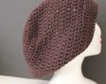 "Knitted ""Brown"" Cotton Beanie,  Slouchy Head Accessory,  Boho-chic ***FREE SHIPPING (USA address  only)  ***"