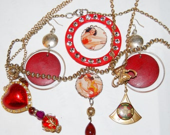 Red Jewelry Lot Charms Pendants Necklaces Earrings Hearts Lady Pinups