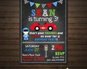 Race Car Boys Birthday Invitation, Chalkboard Invitation, Racing Flags, Banner