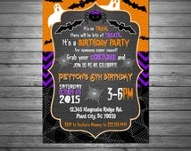 Halloween Birthday Invitation, Printable File, Black, Purple, Orange, Ghosts and Goblins, Bats, Spiders Spooky Birthday, Halloween Party