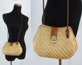 Vintage Wicker Purse - Straw Box Purse - Woven Box Purse