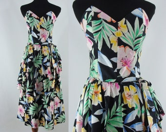 Vintage Eighties Dress - 1980s Strapless Floral Dress - 80s Party Dress - XXS