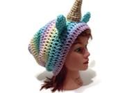 Rainbow Unicorn Hat, Pastel Rainbow Unicorn, Unicorn Horn Hat, Unicorn Cosplay, Hat with Ears, Kawaii Unicorn Hat, Unicorn Costume, Rainbow